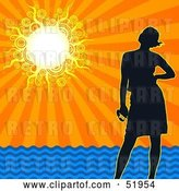 Vector Clip Art of Retro Silhouetted Lady Standing on a Beach Under a Sunset Ocean Sky by Dero