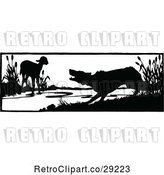 Vector Clip Art of Retro Silhouetted Lamb and Wolf by Prawny Vintage