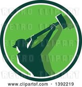 Vector Clip Art of Retro Silhouetted Male Demolition Worker Swinging a Sledgehammer in a Green and White Circle by Patrimonio
