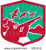 Vector Clip Art of Retro Silhouetted Male Duck Hunter Holding a Rifle in a Red and Green Mountainous Shield by Patrimonio