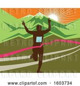 Vector Clip Art of Retro Silhouetted Male Marathon Runner Breaking Through the Finish Line Against a Mountainous Sunset by Patrimonio