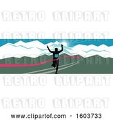 Vector Clip Art of Retro Silhouetted Male Marathon Runner Breaking Through the Finish Line Against a Snow Capped Mountainous Sunset by Patrimonio