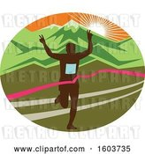 Vector Clip Art of Retro Silhouetted Male Marathon Runner Breaking Through the Finish Line in an Oval Against a Mountainous Sunset by Patrimonio