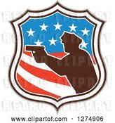 Vector Clip Art of Retro Silhouetted Male Police Officer Aiming a Firearm in an American Flag Circle by Patrimonio