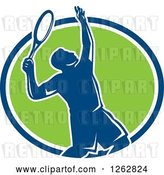 Vector Clip Art of Retro Silhouetted Male Tennis Player Serving Inside a Blue White and Green Circle by Patrimonio