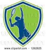 Vector Clip Art of Retro Silhouetted Male Tennis Player Serving Inside a Blue White and Green Shield by Patrimonio