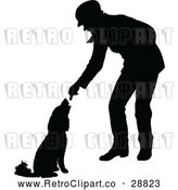 Vector Clip Art of Retro Silhouetted Man Feeding a Dog by Prawny Vintage