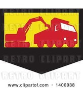 Vector Clip Art of Retro Silhouetted Mechanical Digger Excavator Loading a Dump Truck in a Black Yellow and Red Shield by Patrimonio