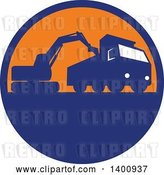 Vector Clip Art of Retro Silhouetted Mechanical Digger Excavator Loading a Dump Truck in a Blue and Orange Circle by Patrimonio