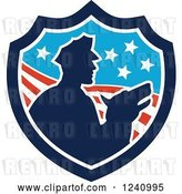 Vector Clip Art of Retro Silhouetted Officer and Security Dog in an American Shield by Patrimonio