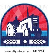Vector Clip Art of Retro Silhouetted Organic Farmer Operating a Tractor in a Crest Design with Wheat by Patrimonio