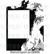Vector Clip Art of Retro Silhouetted Person Hanging off of a Cliff Page Border by Prawny Vintage
