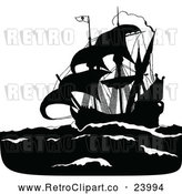 Vector Clip Art of Retro Silhouetted Pirate Ship by Prawny Vintage