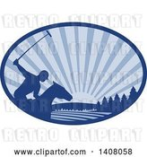 Vector Clip Art of Retro Silhouetted Polo Player on Horseback, Swinging a Mallet Against a Sunset in a Blue Oval by Patrimonio