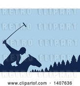 Vector Clip Art of Retro Silhouetted Polo Player on Horseback, Swinging a Mallet Against Evergreen Trees and Blue by Patrimonio