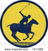 Vector Clip Art of Retro Silhouetted Polo Player on Horseback, Swinging a Mallet in a Navy Blue and Yellow Circle by Patrimonio