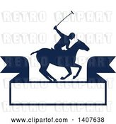 Vector Clip Art of Retro Silhouetted Polo Player on Horseback, Swinging a Mallet over a Banner by Patrimonio