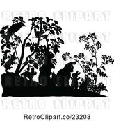Vector Clip Art of Retro Silhouetted Rabbit Family and Birds in Shrubs by Prawny Vintage