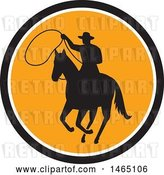 Vector Clip Art of Retro Silhouetted Roping Cowboy in Horseback in a Black White and Orange Circle by Patrimonio