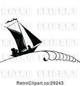 Vector Clip Art of Retro Silhouetted Sailboat with People by Prawny Vintage