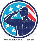 Vector Clip Art of Retro Silhouetted Saluting American Soldier in a Flag Circle by Patrimonio