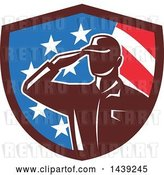 Vector Clip Art of Retro Silhouetted Saluting American Soldier in a Flag Shield by Patrimonio