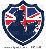 Vector Clip Art of Retro Silhouetted Security Guard and Dog in a Union Jack Flag Shield by Patrimonio