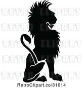 Vector Clip Art of Retro Silhouetted Sitting Lion by Prawny Vintage
