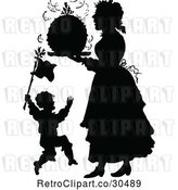 Vector Clip Art of Retro Silhouetted Son and Mother with Christmas Pudding by Prawny Vintage