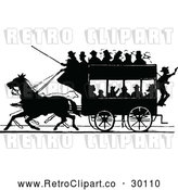 Vector Clip Art of Retro Silhouetted Stage Coach and Passengers 1 by Prawny Vintage