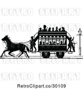 Vector Clip Art of Retro Silhouetted Stage Coach and Passengers 2 by Prawny Vintage