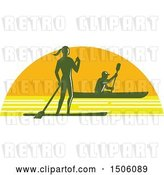 Vector Clip Art of Retro Silhouetted Stand up Paddler and Kayaker in a Sunset Half Circle by Patrimonio