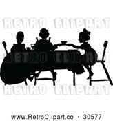Vector Clip Art of Retro Silhouetted Tea Party with Girls by Prawny Vintage