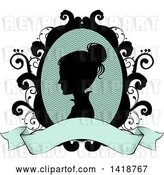 Vector Clip Art of Retro Silhouetted Victorian Lady Cameo in a Floral Frame with a Blank Ribbon Banner by BNP Design Studio