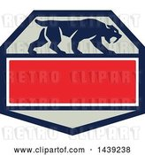 August 14th, 2018: Vector Clip Art of Retro Silhouetted Walking Saber Tooth Tiger Cat in a Hexagon with Text Space by Patrimonio