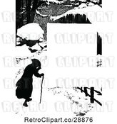 Vector Clip Art of Retro Silhouetted Winter Guy and Cane Page Border by Prawny Vintage
