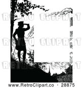 Vector Clip Art of Retro Silhouetted Woman Viewing Page Border by Prawny Vintage