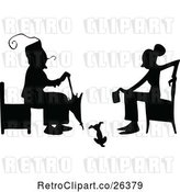 Vector Clip Art of Retro Silhouetted Women Sitting by Prawny Vintage