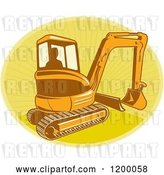 Vector Clip Art of Retro Silhouetted Worker Operating a Digger Excavator Machine over a Yellow Oval of Rays by Patrimonio