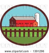 Vector Clip Art of Retro Silo, Barn and Shed in an Oval by Patrimonio