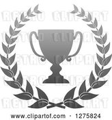 Vector Clip Art of Retro Silver Championship Trophy Cup in a Wreath by Vector Tradition SM