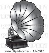 Vector Clip Art of Retro Silver Gramophone by Lal Perera