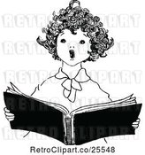 Vector Clip Art of Retro Singing Angelic Boy by Prawny Vintage