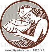 Vector Clip Art of Retro Siren Mermaid Blowing on a Shell in a Brown White and Taupe Circle by Patrimonio
