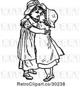 Vector Clip Art of Retro Sisters Hugging by Prawny Vintage