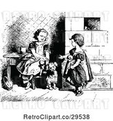 Vector Clip Art of Retro Sisters Playing with Dolls and Their Dog by Prawny Vintage