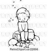 Vector Clip Art of Retro Sitting over a Bubble Bath by Prawny Vintage
