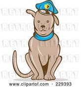 Vector Clip Art of Retro Sitting Police Dog by Patrimonio