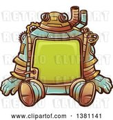 Vector Clip Art of Retro Sitting Steampunk Robot with a Frame Body by BNP Design Studio