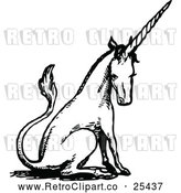 Vector Clip Art of Retro Sitting Unicorn by Prawny Vintage